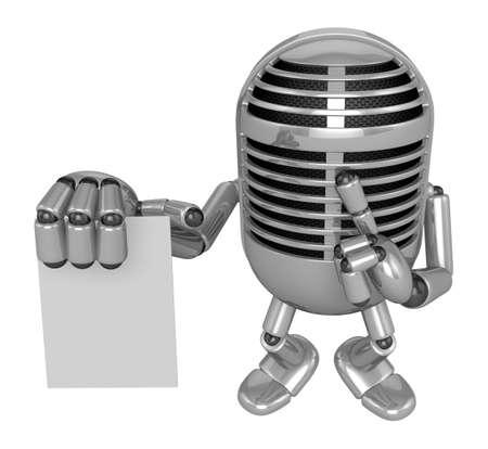 uneasiness: 3D Classic Microphone to right hand hush gestures and left hand is holding a document. 3D Classic Microphone Robot Character Series.