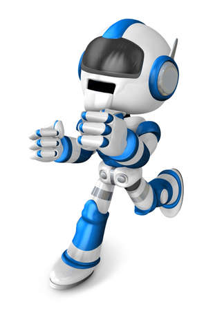 humanoid: Blue robot character is going to front Running. Create 3D Humanoid Robot Series. Stock Photo