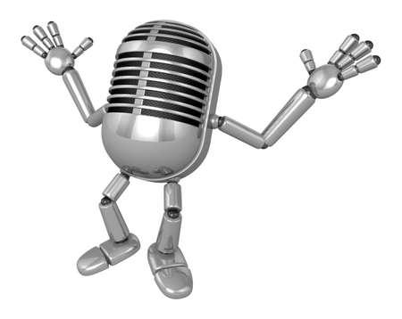 classical mechanics: 3D Classic Microphone Mascot is startled again and again. 3D Classic Microphone Robot Character Series.