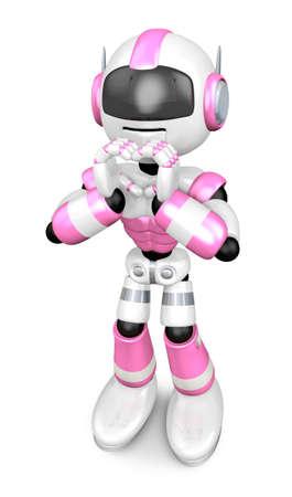 humanoid: Pink Robot gesture of love. Create 3D Humanoid Robot Series.
