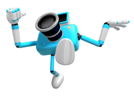 serie: Rushing toward the left side of the Cyan Camera Character. Create 3D Camera Robot Serie.