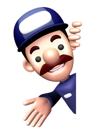calling art: 3D Service man mascot Suggests the direction. Work and Job Character Design Series.