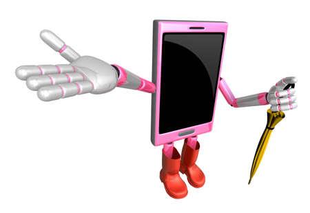 cellularphone: 3D Smart Phone Mascot is holding an umbrella. 3D Mobile Phone Character Design Series.