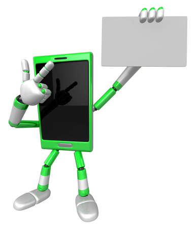 cellularphone: 3D Smart Phone Mascot the left hand guides and the right hand is holding a business cards. 3D Mobile Phone Character Design Series. Stock Photo