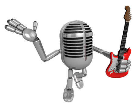 classical mechanics: 3D Classic Microphone is holding electric guitar. 3D Classic Microphone Robot Character Series.