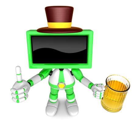 preservation: Green TV gentleman Mascot the left hand best gesture and right hand is holding a beer mug. Create 3D Television Robot Series. Stock Photo