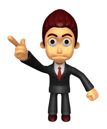 indignation: 3D Business man Mascot An expression of dissatisfaction to be pointing fingers. Work and Job Character Design Series. Stock Photo