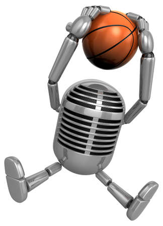 classical mechanics: 3D Classic Microphone a dunks with both hands. 3D Classic Microphone Robot Character Series.
