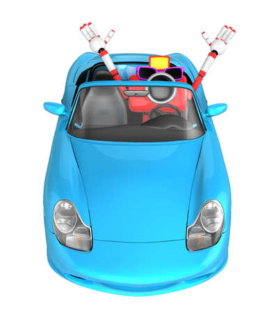 convertible car: Driving a cyan Convertible car in Red camera Character. Create 3D Camera Robot Series.