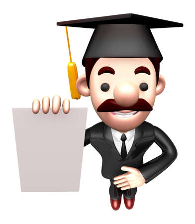 job descriptions: 3D Business man Mascot is holding paper documents. Work and Job Character Design Series. Stock Photo