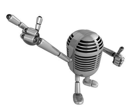 fidelity: 3D Classic Microphone Mascot Suggests the direction. 3D Classic Microphone Robot Character Series.