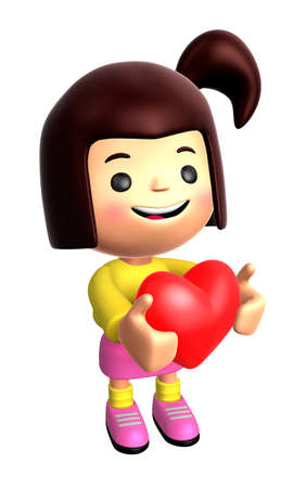 personality character: The Girls Mascot holding hearts. 3D Family and Children Character Design Series. Stock Photo