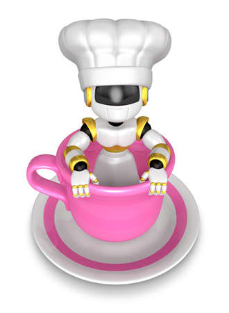 humanoid: Big cup in the best chef robot. Create 3D Humanoid Robot Series.