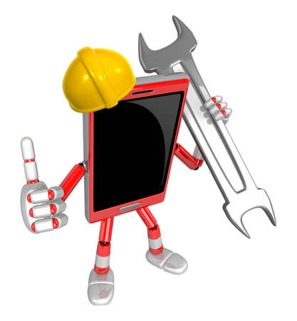 cellularphone: 3D Smart Phone Mascot the Right hand best gesture and Left hand is holding a wrench. 3D Mobile Phone Character Design Series. Stock Photo