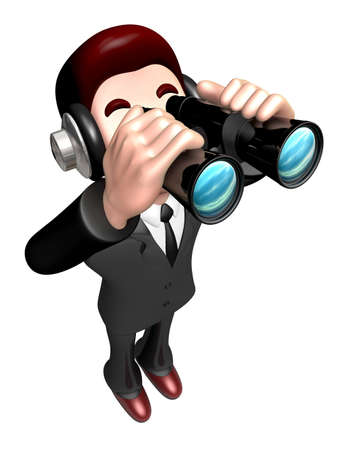salesmen: The 3D Business man a binoculars watching. 3D Salesmen Character
