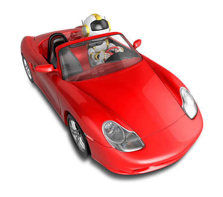 humanoid: The Red sports car ride to a Gold Robot. Create 3D Humanoid Robot Series.