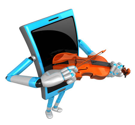 fingerboard: 3D Smart Phone Mascot has to be playing the violin. 3D Mobile Phone Character Design Series.