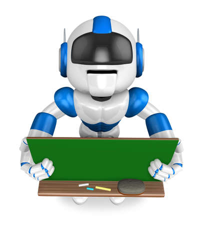 humanoid: Blue robot Character is holding a blackboard with both hands. Create 3D Humanoid Robot Series.