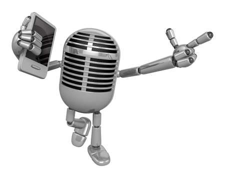 fidelity: 3D Classic Microphone Mascot the left hand guides and the right hand is holding a Smart Phone. 3D Classic Microphone Robot Character Series.