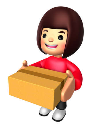 personality character: 3D Girl Mascot holding a large Gift Box. 3D Family and Children Character Design Series.