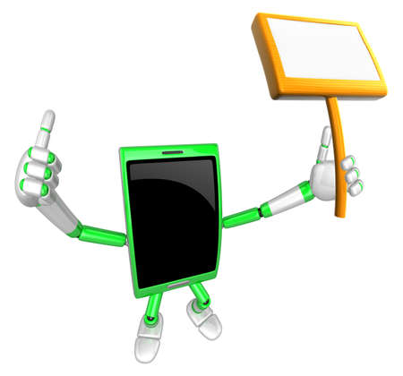 cellularphone: 3D Smart Phone Mascot the hand is holding a picket. 3D Mobile Phone Character Design Series. Stock Photo