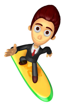 literary characters: 3D Business man Mascot balancing on a surfboard. Work and Job Character Design Series.