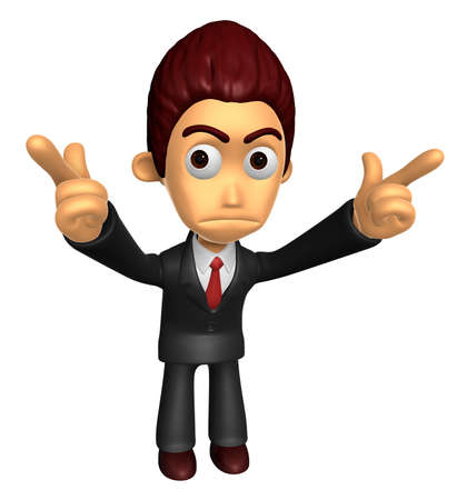 indignation: 3D Business man Mascot To point the finger at you with both hands. Work and Job Character Design Series.