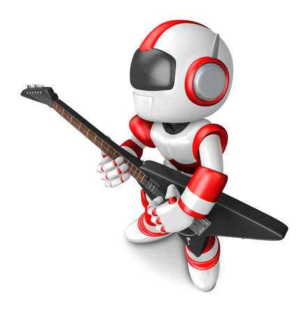 humanoid: To the left toward the Red Robot Character playing the guitar. Create 3D Humanoid Robot Series.
