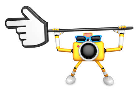 indicate: That Yellow Camera holding a large cursor indicate a direction. Create 3D Camera Robot Series.