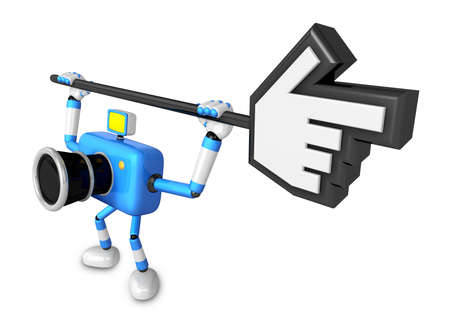 indicate: That blue Camera holding a large cursor indicate a direction. Create 3D Camera Robot Series.