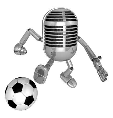 classical mechanics: 3D Classic Microphone kicking a powerful shot. 3D Classic Microphone Robot Character Series. Stock Photo