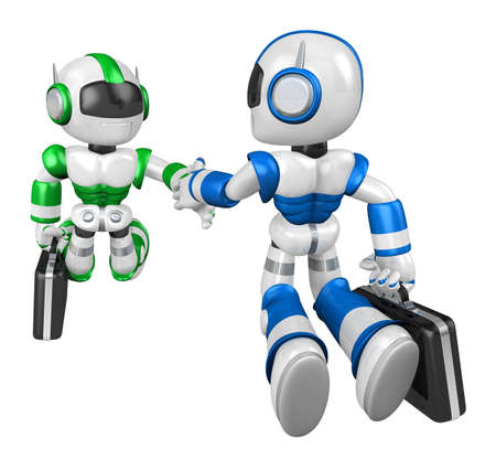 humanoid: Shake hands Blue robot and Green robot facing each other. Create 3D Humanoid Robot Series. Stock Photo