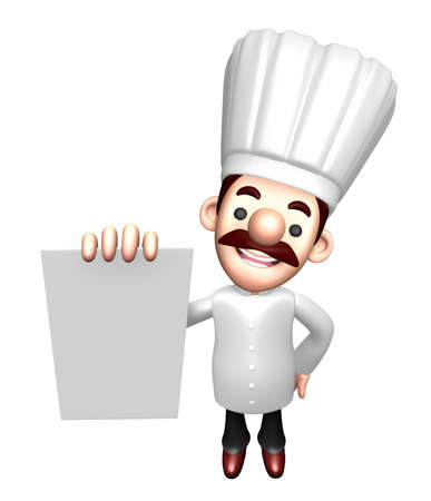 job descriptions: 3D Chef character is holding paper documents. Work and Job Character Design Series.