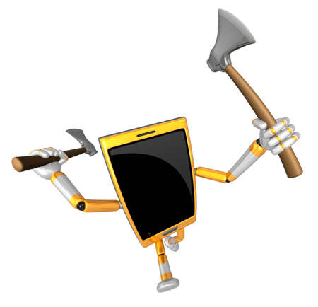 weaponry: 3D Smart Phone Mascot brandishes an axe with a very sharp blade. 3D Mobile Phone Character Design Series.