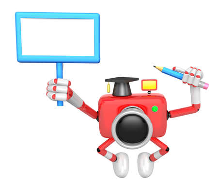 grasp: The left hand Holding the board Doctor red Camera Character. The right hand grasp pencil. Create 3D Camera Robot Series. Stock Photo