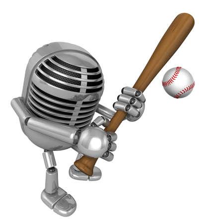 classical mechanics: 3D Classic Microphone Mascot enjoyed a baseball game. 3D Classic Microphone Robot Character Series.