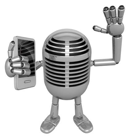 usher: 3D Classic Microphone Mascot the left hand guides and the right hand is holding a Smart Phone. 3D Classic Microphone Robot Character Series.