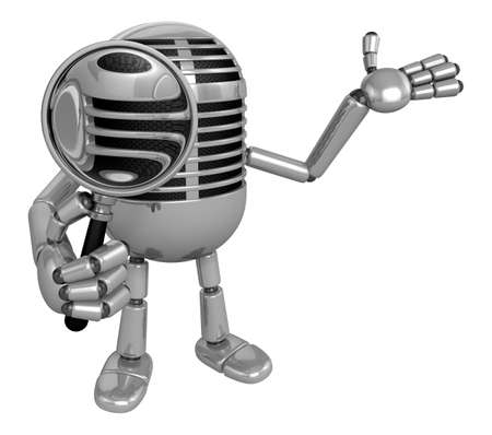 fidelity: 3D Classic Microphone Mascot look through a magnifying glass. 3D Classic Microphone Robot Character Series.