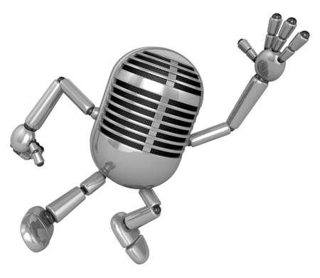 classical mechanics: 3D Classic Microphone Mascot on Running. 3D Classic Microphone Robot Character Series.