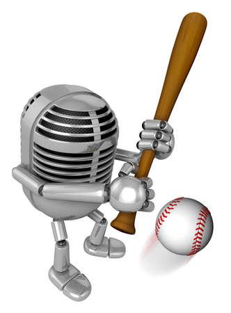 batting: 3D Classic Microphone Mascot a Baseball Batting. 3D Classic Microphone Robot Character Series.