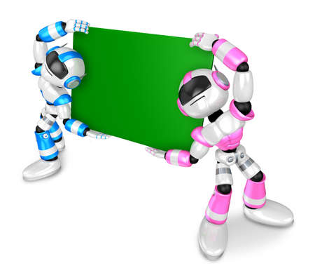 humanoid: Lift a Robots board  Holding. Create 3D Humanoid Robot Series. Stock Photo