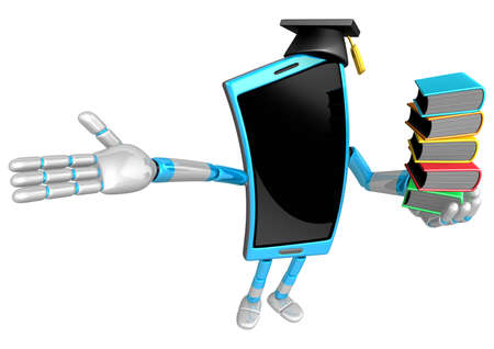 cellularphone: 3D Smart Phone Mascot is holding a pile of books. 3D Mobile Phone Character Design Series.