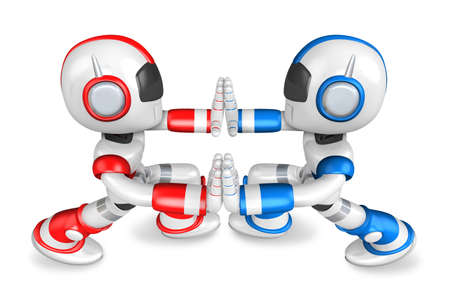humanoid: Red robots and Blue robots Pushing each other. Create 3D Humanoid Robot Series.