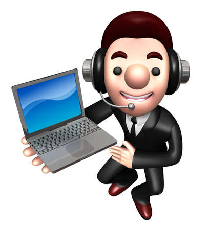 personality character: 3D Business man Mascot to promote Laptop. Work and Job Character Design Series.
