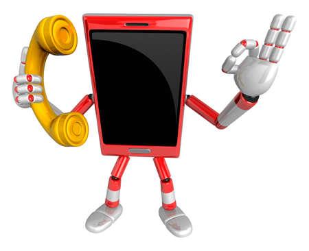 cellularphone: 3D Smart Phone Mascot has telephone conversation. 3D Mobile Phone Character Design Series.