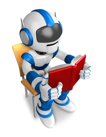 humanoid: Blue robot character is sitting and reading a book. Create 3D Humanoid Robot Series.