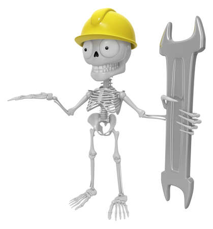 mortal: 3D Skeleton Mascot is holding electric wrench. 3D Skull Character Design Series.