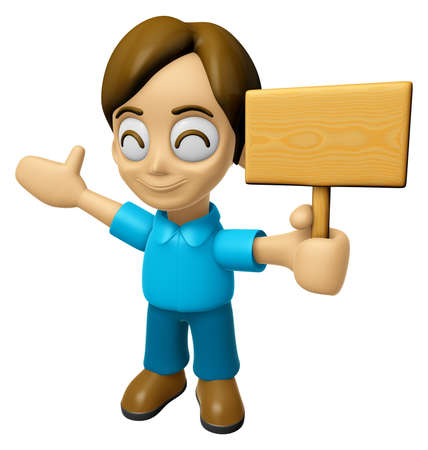 inform: 3D Man Mascot the hand is holding a picket. Work and Job Character Design Series 2. Stock Photo