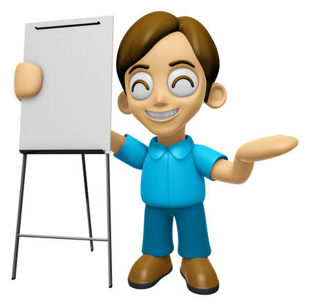 briefing: 3D Man Mascot is presentation in front of the a briefing chart. Work and Job Character Design Series 2. Stock Photo