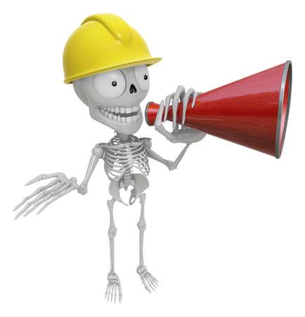 mortal: 3D Skeleton Mascot is speakn through a megaphone. 3D Skull Character Design Series.